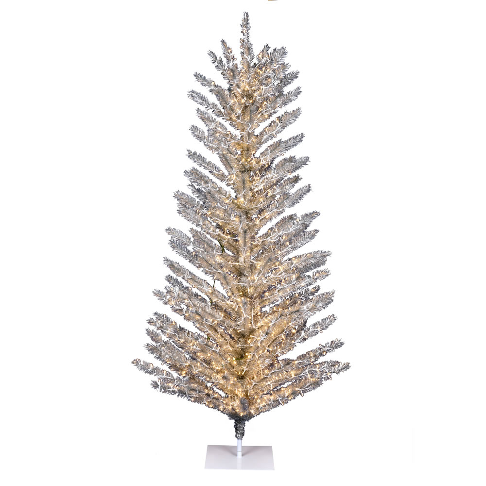 6 Foot Vintage Aluminum Artificial Christmas Tree - 850 Low Voltage LED Warm White 3MM Lights