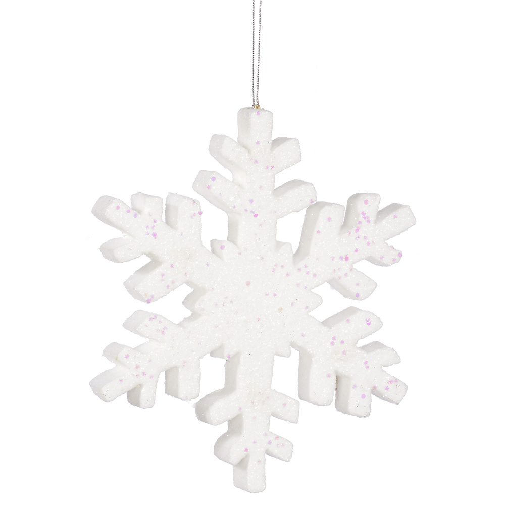 8 Inch White Glitter Snowflake Artificial Christmas Ornament