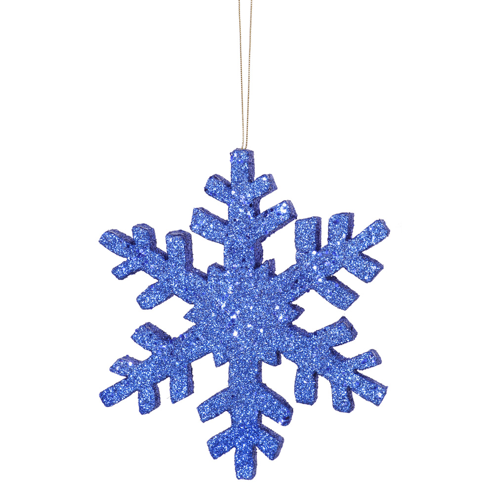 8 Inch Blue Outdoor Glitter Snowflake Artificial Christmas Ornament