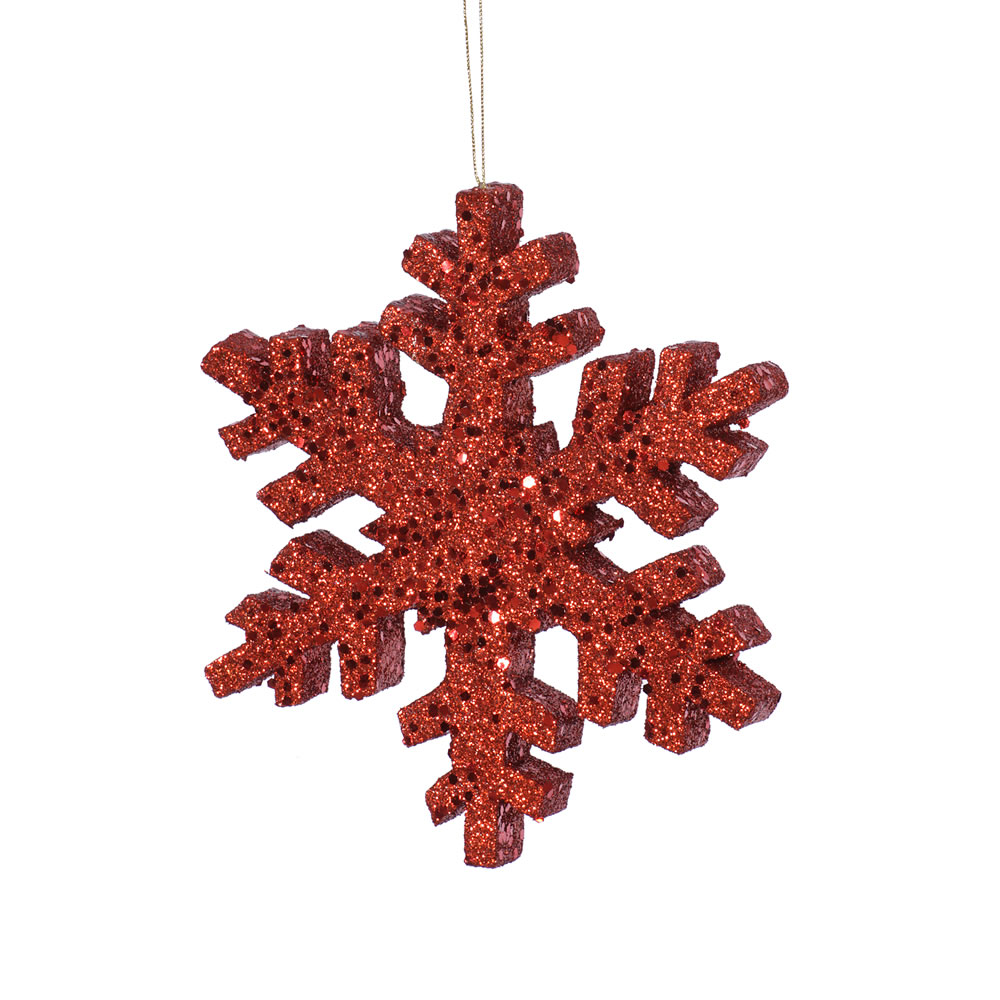 8 Inch Red Outdoor Glitter Snowflake Artificial Christmas Ornament