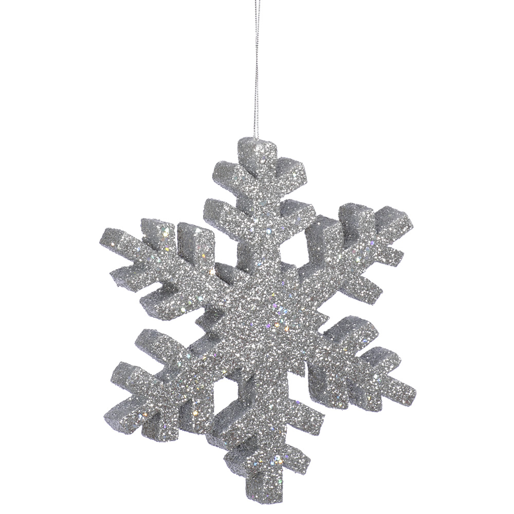 8 Inch Silver Outdoor Glitter Snowflake Artificial Christmas Ornament
