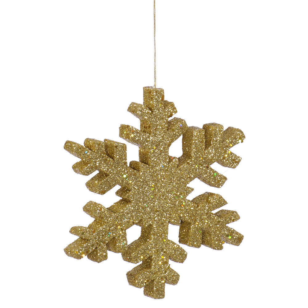 8 Inch Gold Outdoor Glitter Snowflake Artificial Christmas Ornament