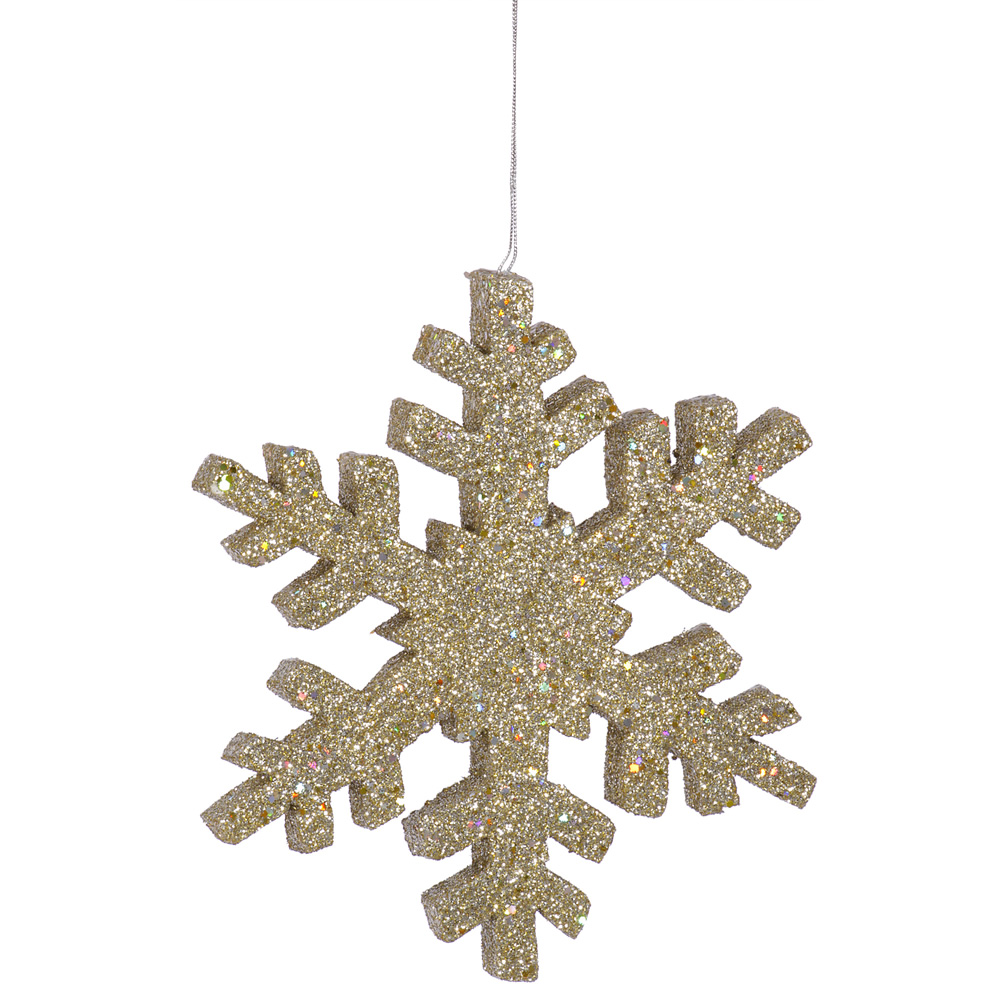 8 Inch Champagne Outdoor Glitter Snowflake Christmas Ornament