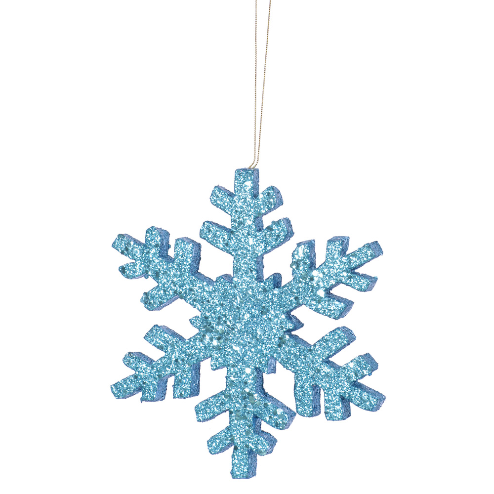8 Inch Turquoise Outdoor Glitter Snowflake Artificial Christmas Ornament