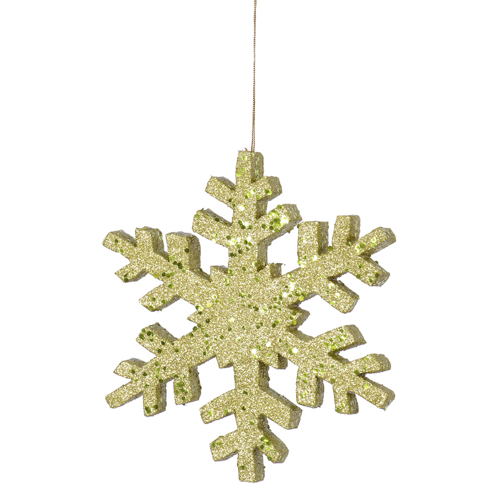 8 Inch Lime Outdoor Glitter Snowflake Artificial Christmas Ornament
