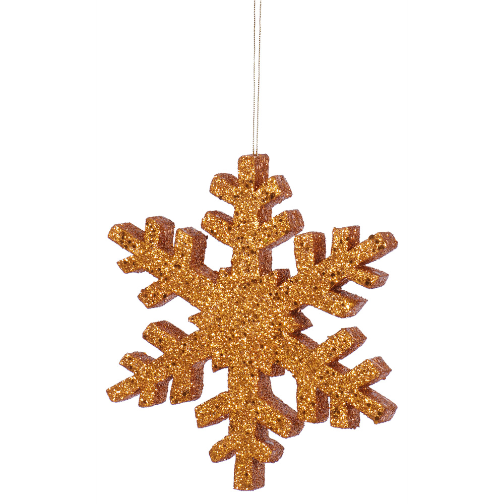 8 Inch Rose Gold Outdoor Glitter Snowflake Artificial Christmas Ornament