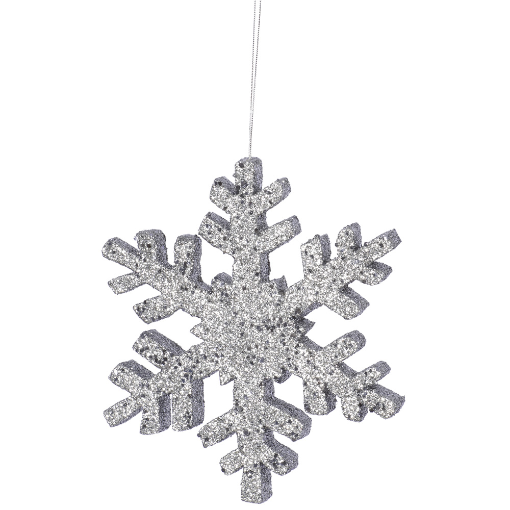 8 Inch Pewter Outdoor Glitter Snowflake Artificial Christmas Ornament