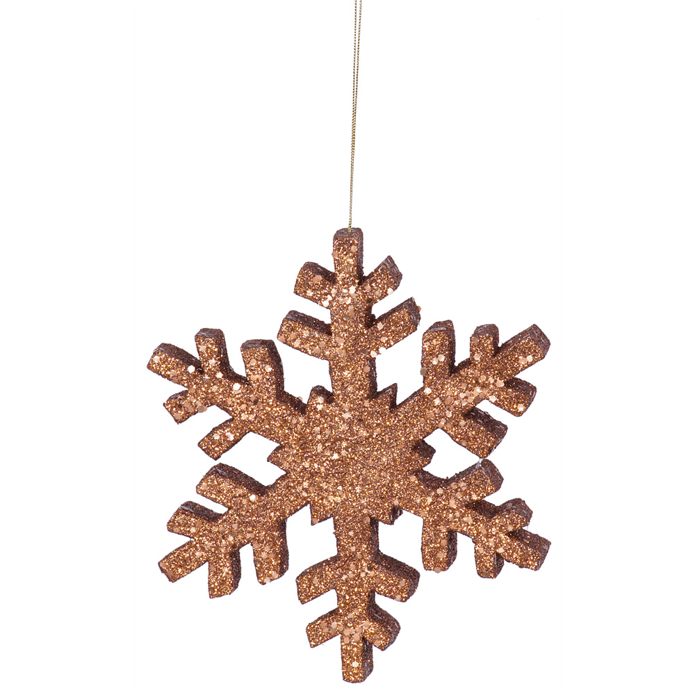 8 Inch Copper Outdoor Glitter Snowflake Artificial Christmas Ornament