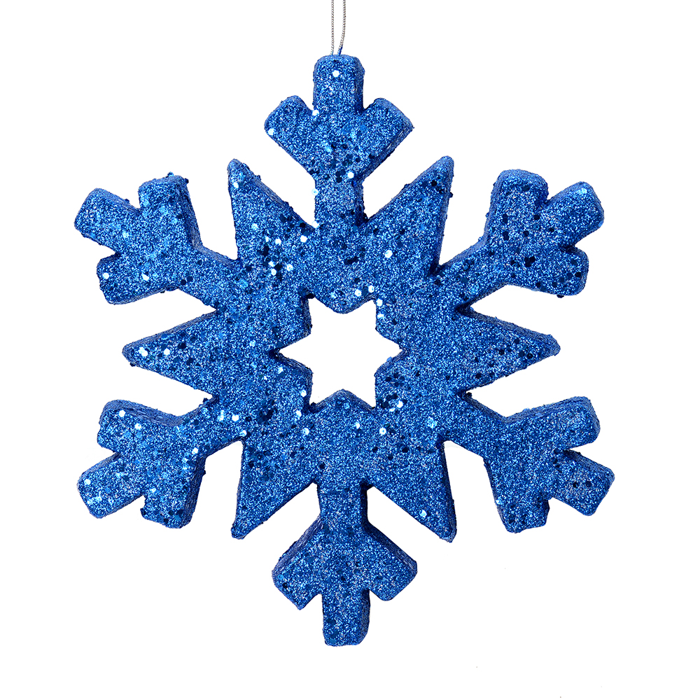 12 Inch Blue Glitter Snowflake Christmas Ornament