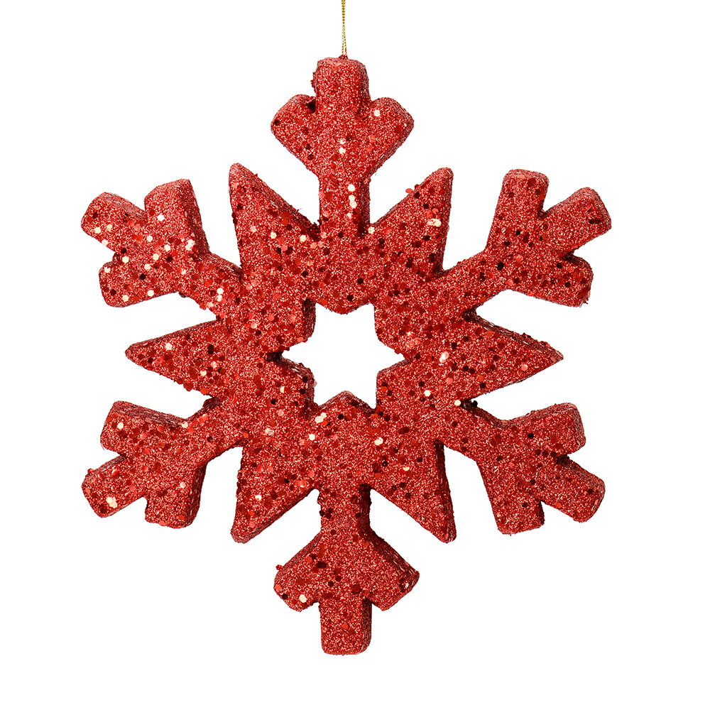 12 Inch Red Glitter Snowflake Christmas Ornament