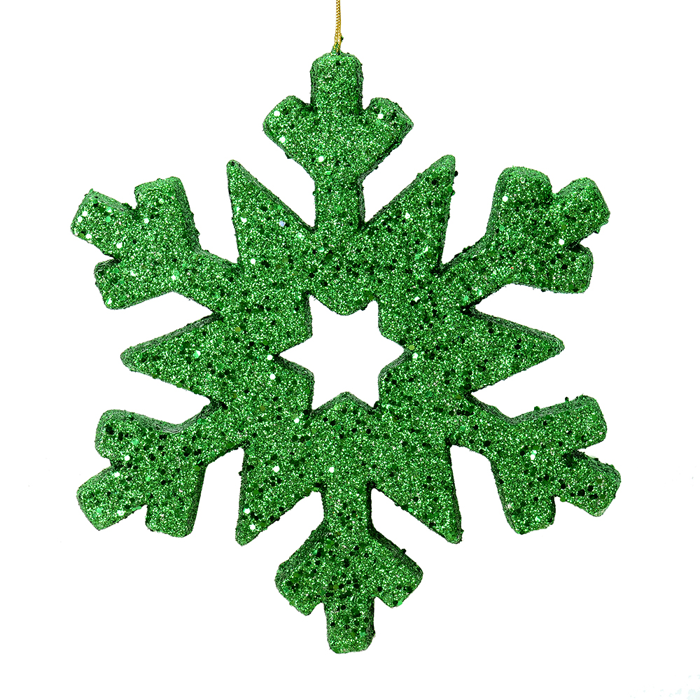 12 Inch Green Glitter Snowflake Christmas Ornament