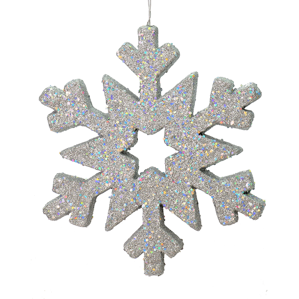 12 Inch Silver Glitter Snowflake Christmas Ornament