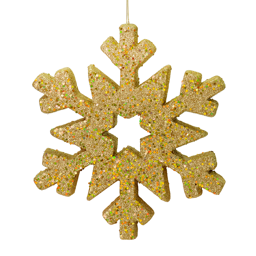 12 Inch Gold Glitter Snowflake Christmas Ornament