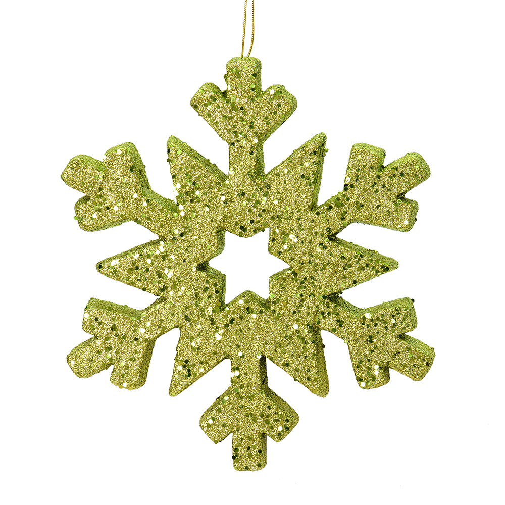 12 Inch Lime Glitter Snowflake Christmas Ornament