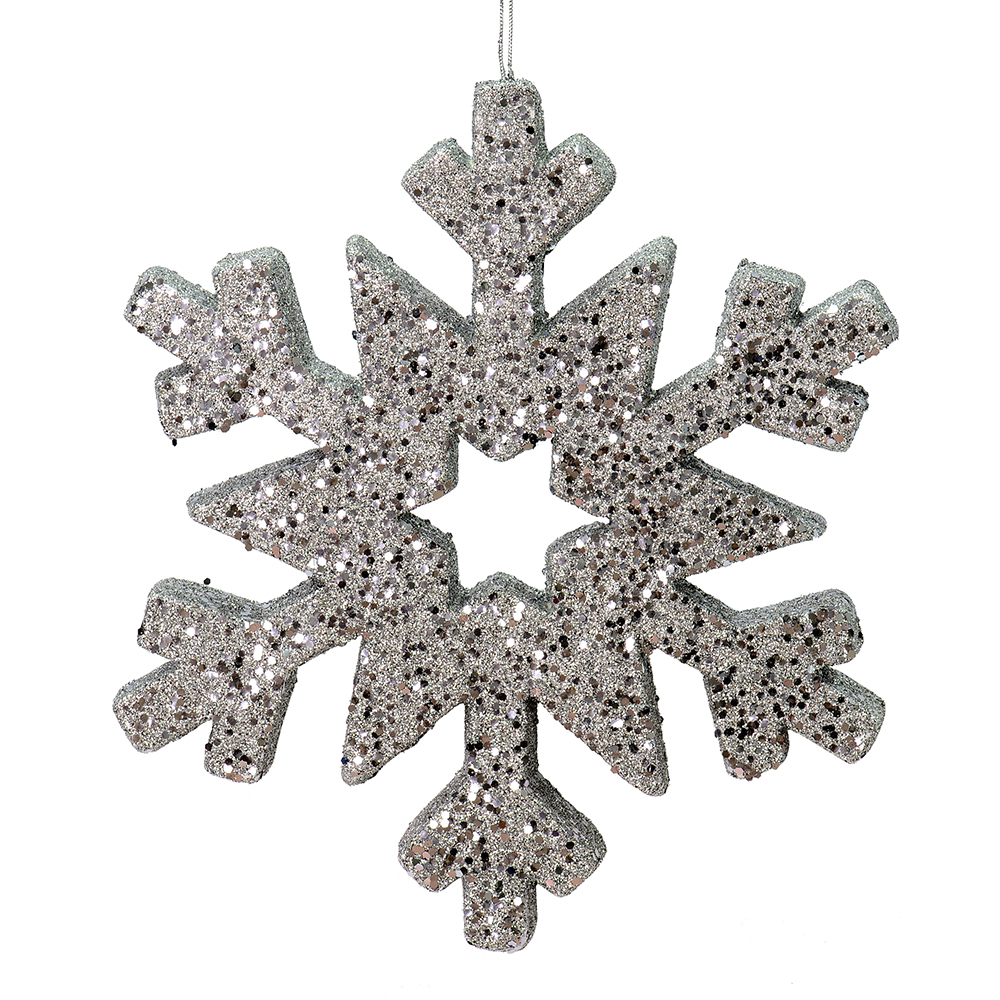 12 Inch Pewter Glitter Snowflake Christmas Ornament