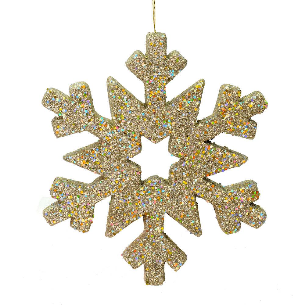 12 Inch Champagne Glitter Snowflake Christmas Ornament