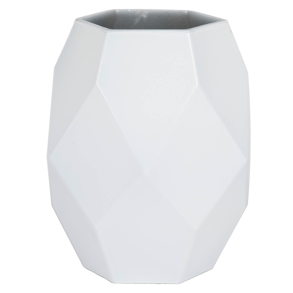 7.75 Inch White Geometric Glass Vase
