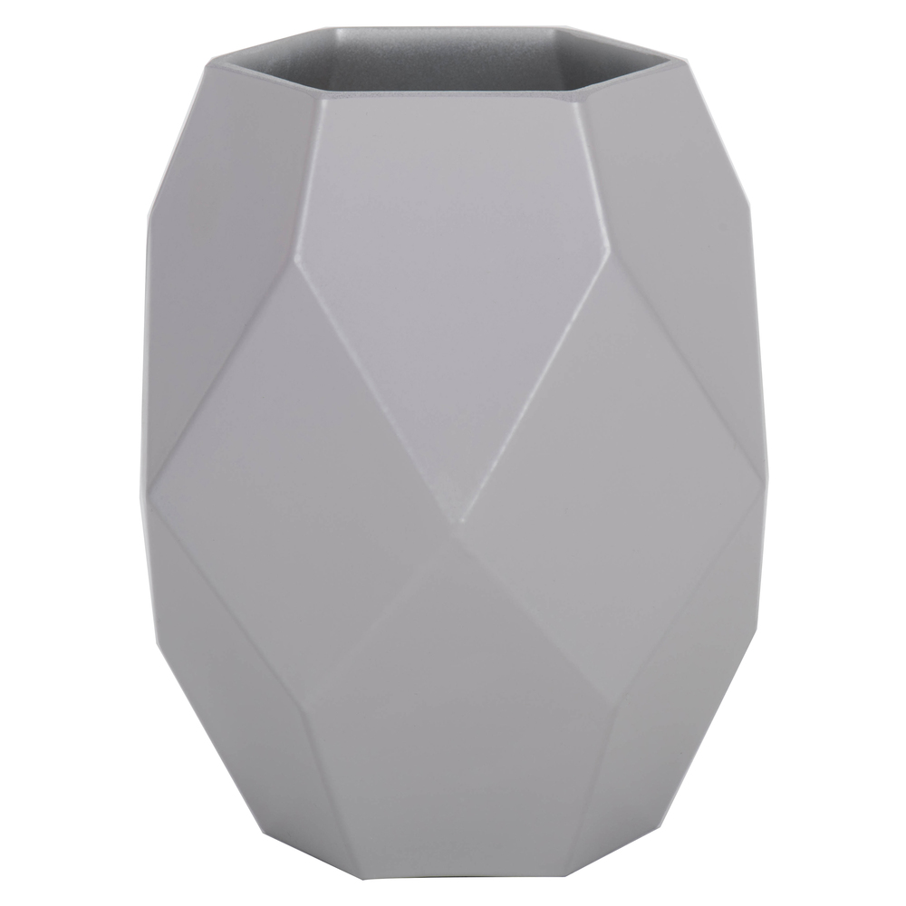 7.75 Inch Crystal Gray Geometric Glass Vase