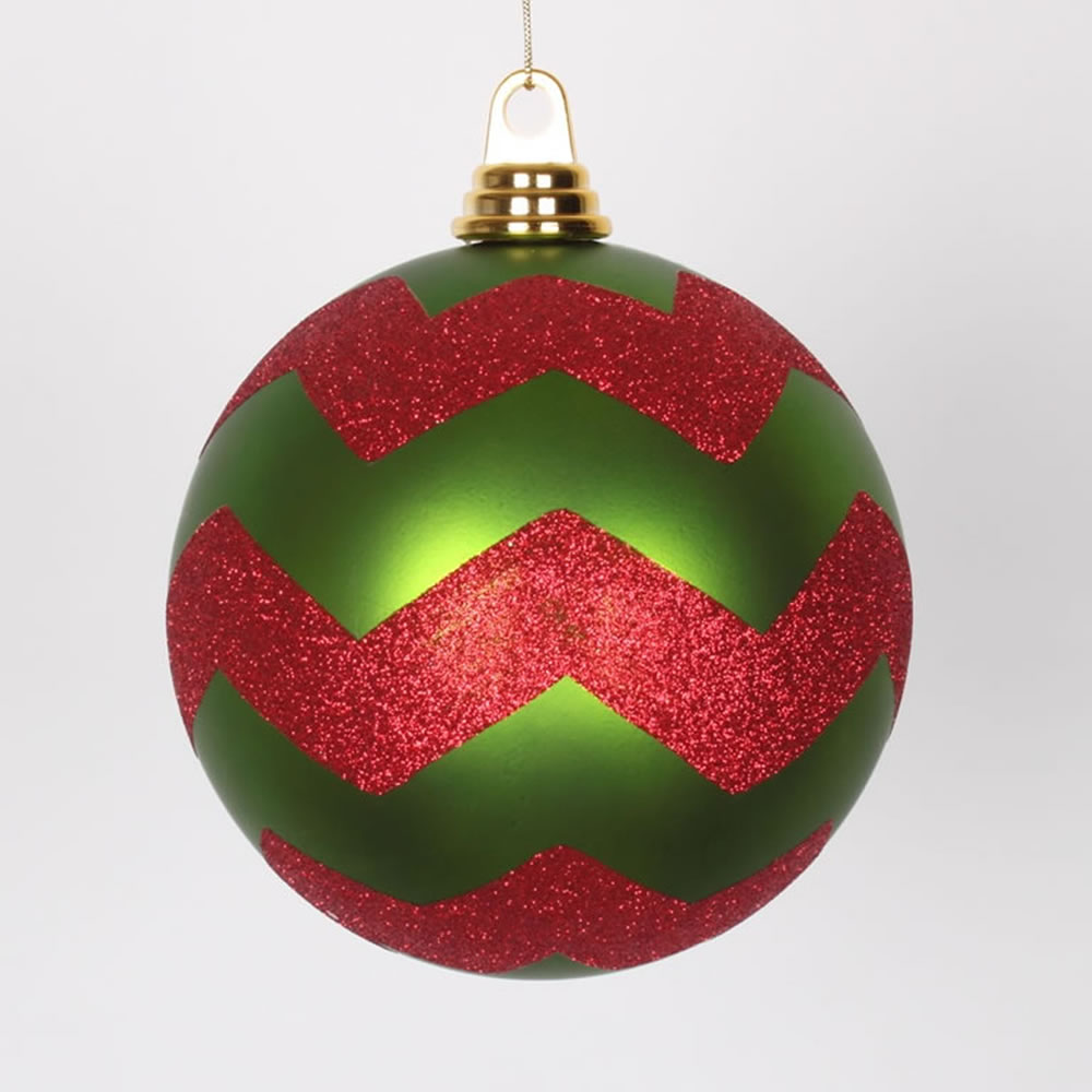 6 Inch Lime and Red Matte Glitter Chevron Christmas Ball Ornament