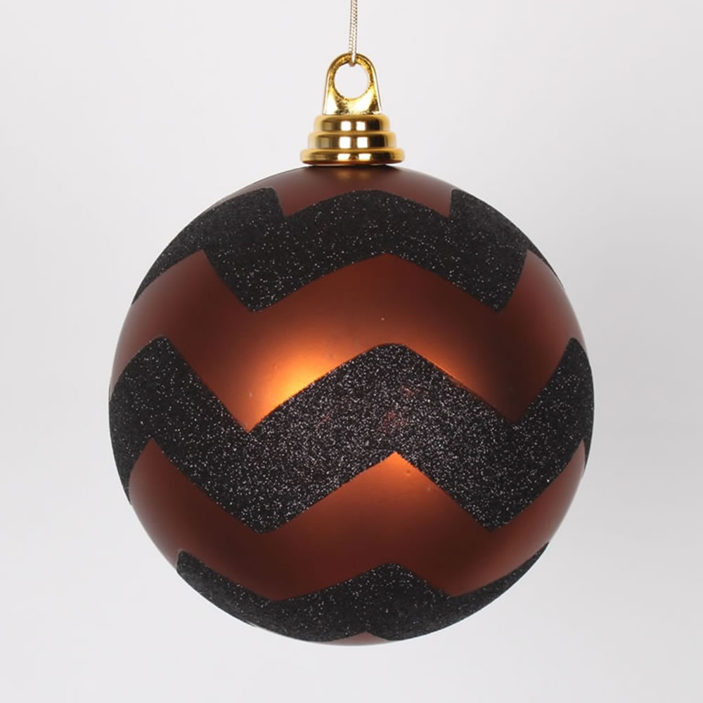 6 Inch Copper and Black Matte Glitter Chevron Christmas Ball Ornament
