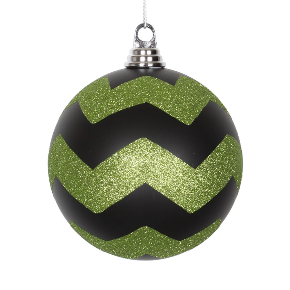 6 Inch Black and Lime Matte Glitter Chevron Christmas Ball Ornament