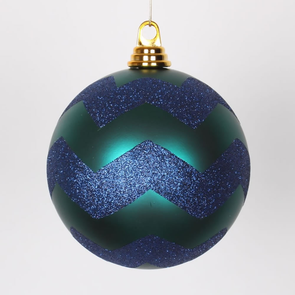 6 Inch Teal Sea Blue and Blue Matte Glitter Chevron Christmas Ball Ornament