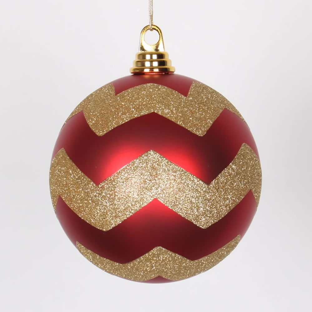 6 Inch Red and Gold Matte Glitter Chevron Christmas Ball Ornament