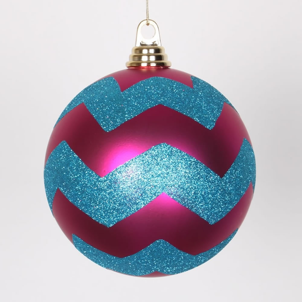 6 Inch Cerise Pink and Turquoise Matte Glitter Chevron Christmas Ball Ornament