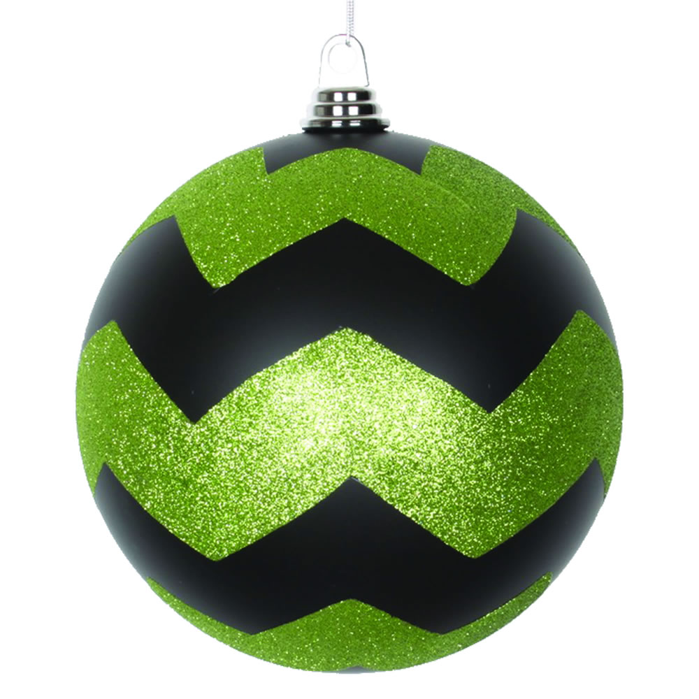 8 Inch Black And Lime Matte Glitter Chevron Christmas Ball Ornament