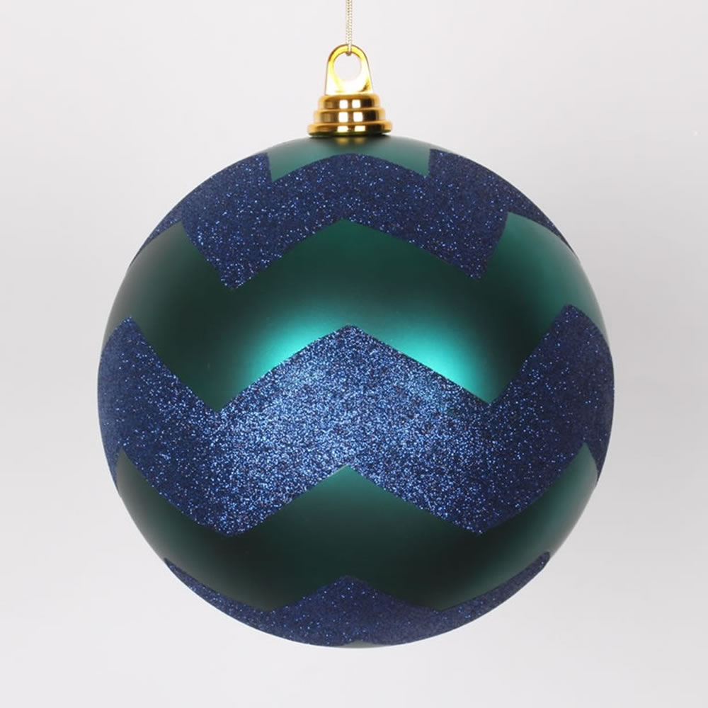 8 Inch Teal And Sea Blue Matte Glitter Chevron Christmas Ball Ornament