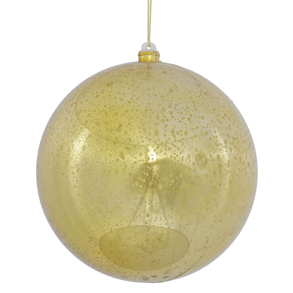 8 Inch Gold Shiny Mercury Christmas Ball Ornament Shatterproof