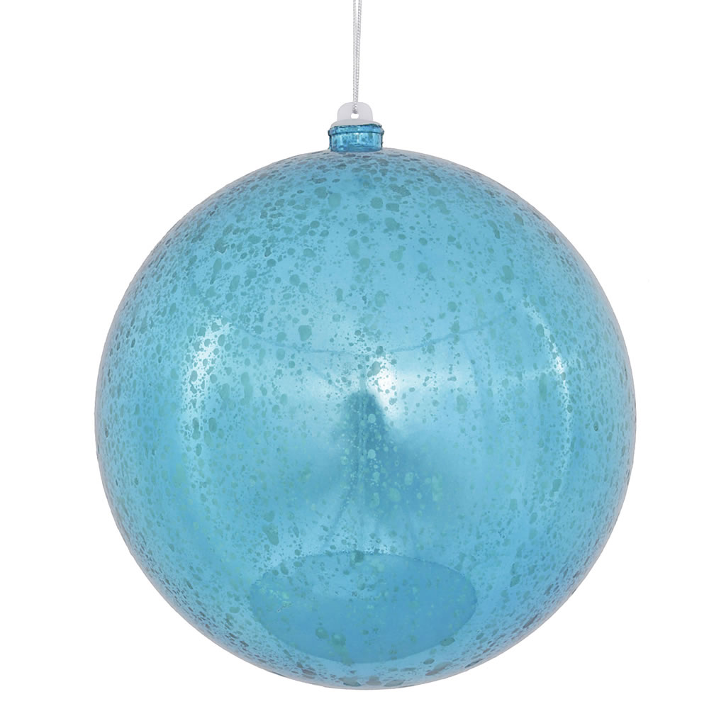 8 Inch Turquoise Shiny Mercury Christmas Ball Ornament Shatterproof