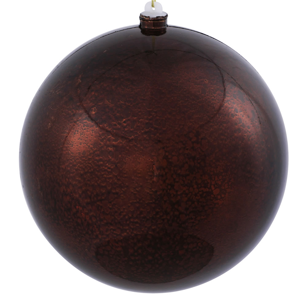 8 Inch Chocolate Brown Shiny Mercury Christmas Ball Ornament Shatterproof