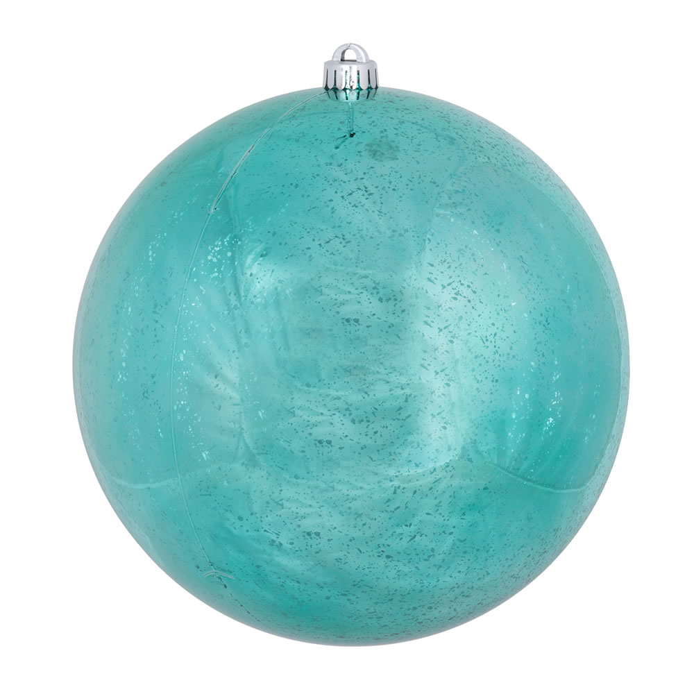 8 Inch Teal Shiny Mercury Christmas Ball Ornament Shatterproof