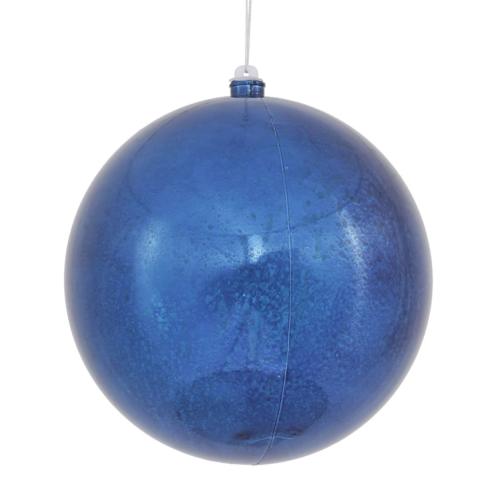 8 Inch Sea Blue Shiny Mercury Christmas Ball Ornament Shatterproof