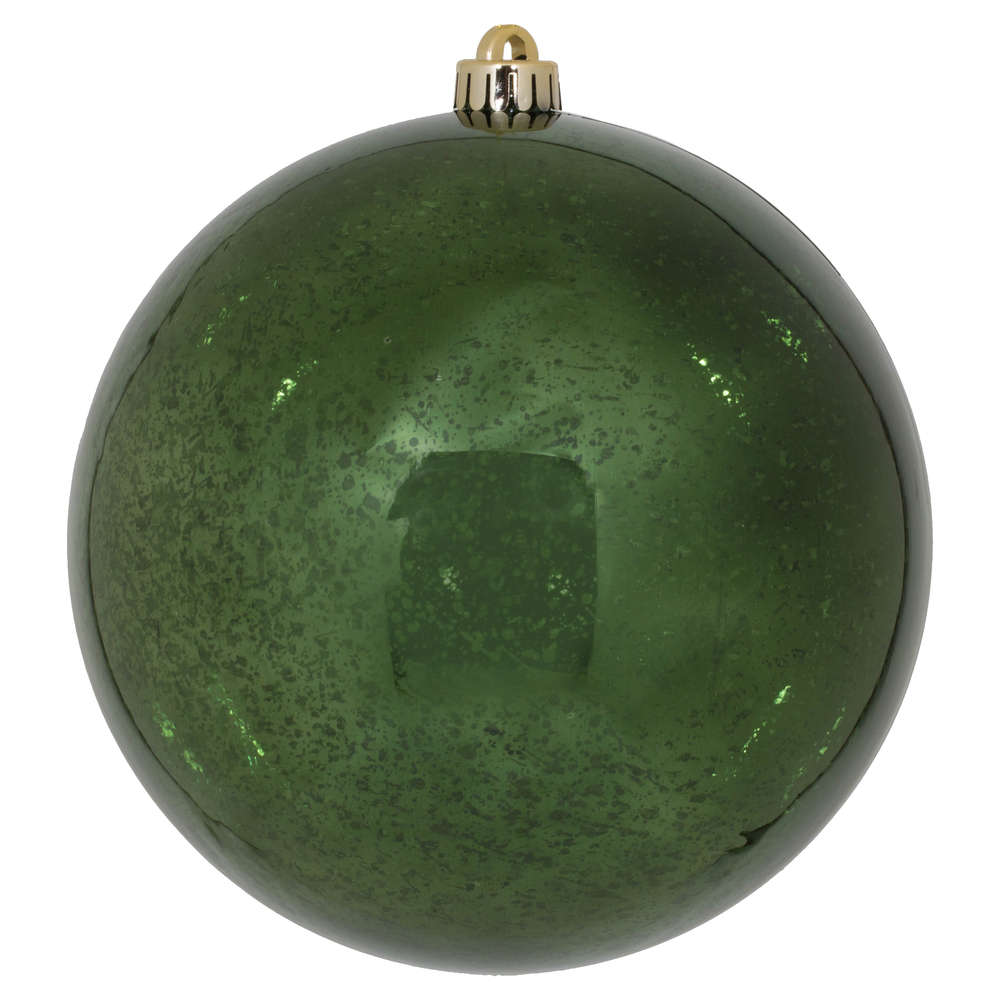 8 Inch Moss Green Shiny Mercury Christmas Ball Ornament Shatterproof