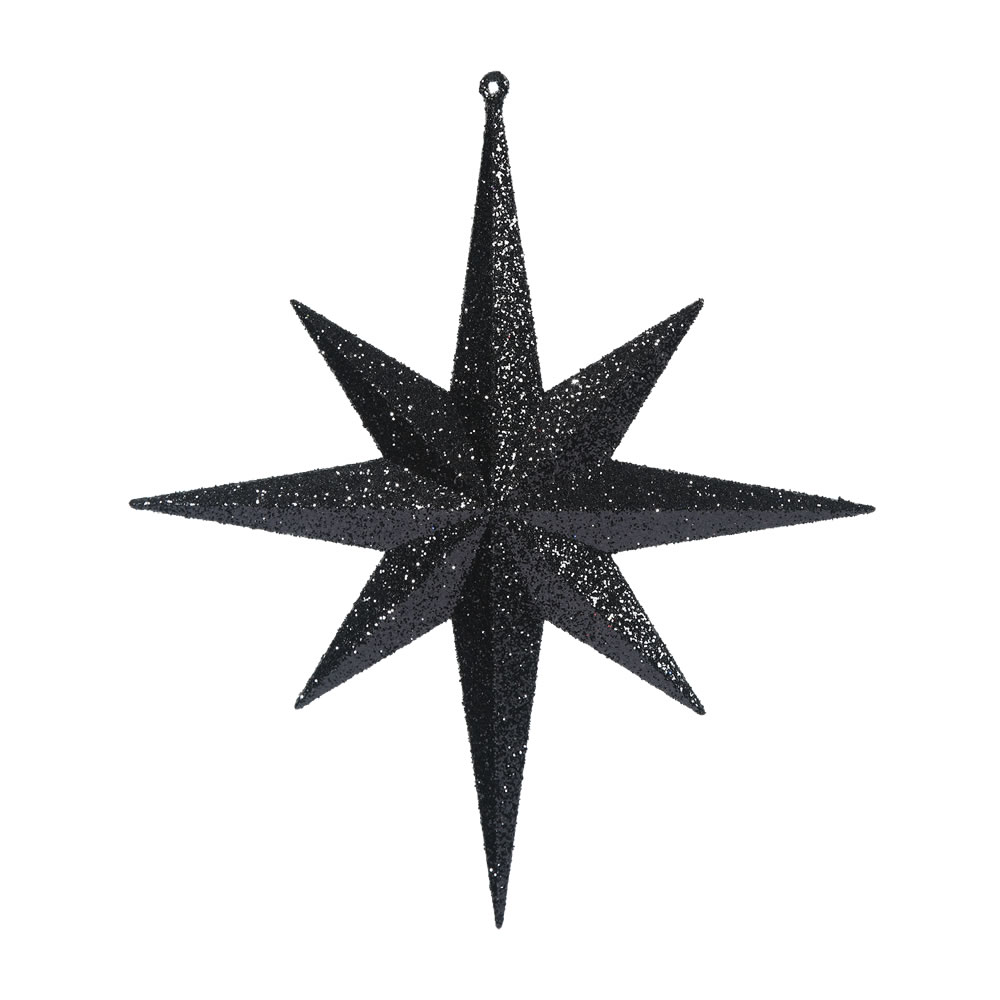 12 Inch Black Iridescent Glitter Bethlehem Star Christmas Ornament