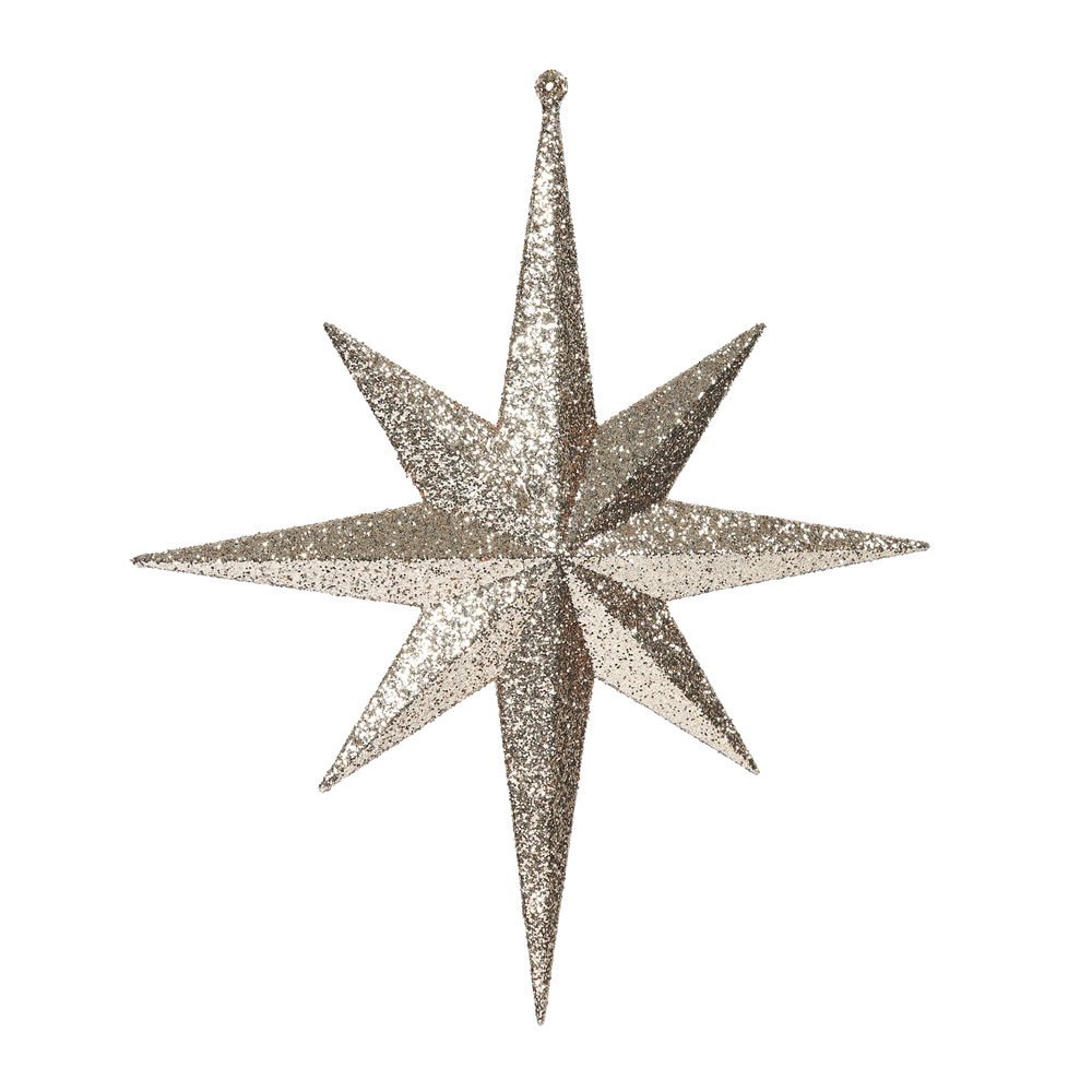 12 Inch  Rose Gold Iridescent Glitter Bethlehem Star Christmas Ornament