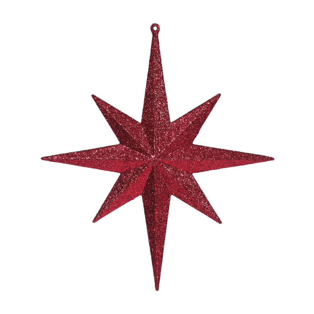 12 Inch Burgundy Iridescent Glitter Bethlehem Star Christmas Ornament