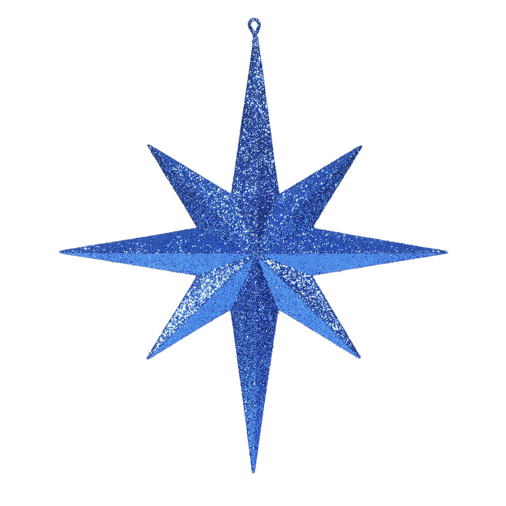 15.75 Inch Blue Iridescent Glitter Bethlehem Star Christmas Ornament