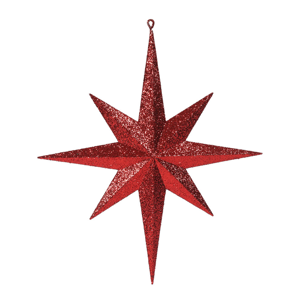 15.75 Inch Red Iridescent Glitter Bethlehem Star Christmas Ornament