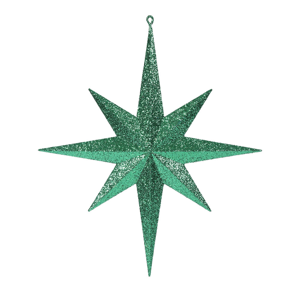 15.75 Inch Green Iridescent Glitter Bethlehem Star Christmas Ornament