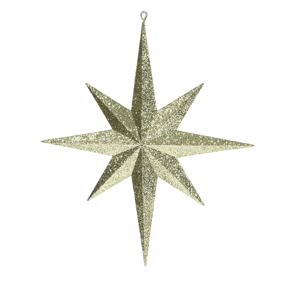 15.75 Inch Gold Iridescent Glitter Bethlehem Star Christmas Ornament