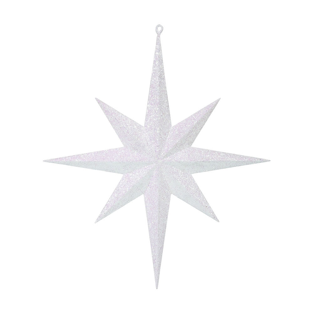 15.75 Inch White Iridescent Glitter Bethlehem Star Christmas Ornament