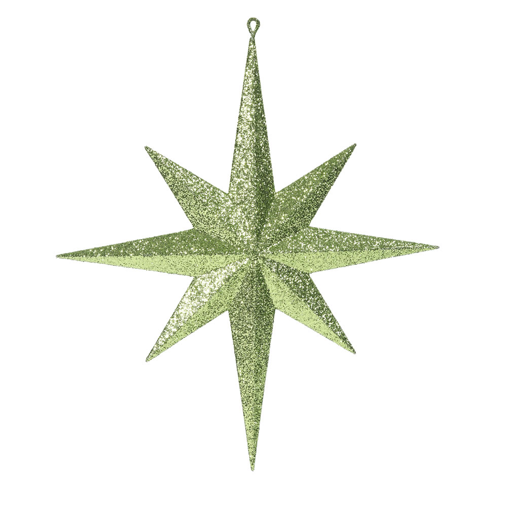 15.75 Inch Lime Iridescent Glitter Bethlehem Star Christmas Ornament