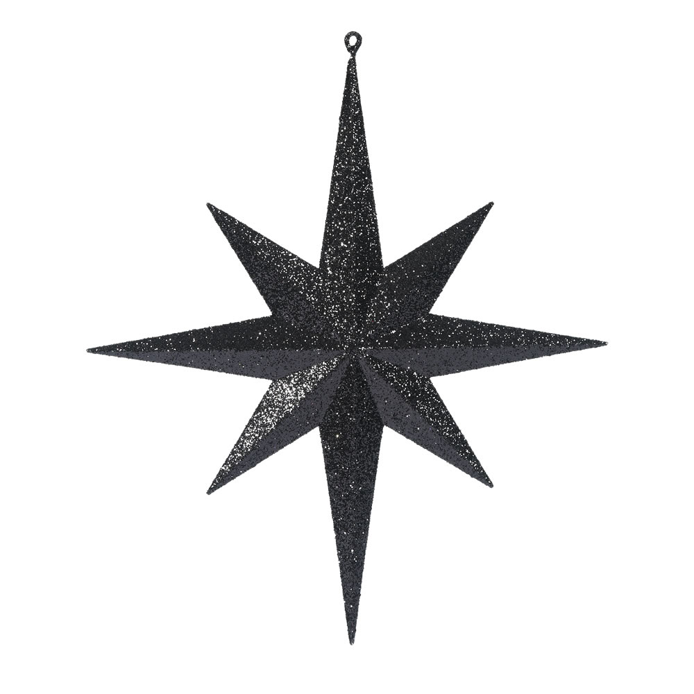 15.75 Inch Black Iridescent Glitter Bethlehem Star Christmas Ornament