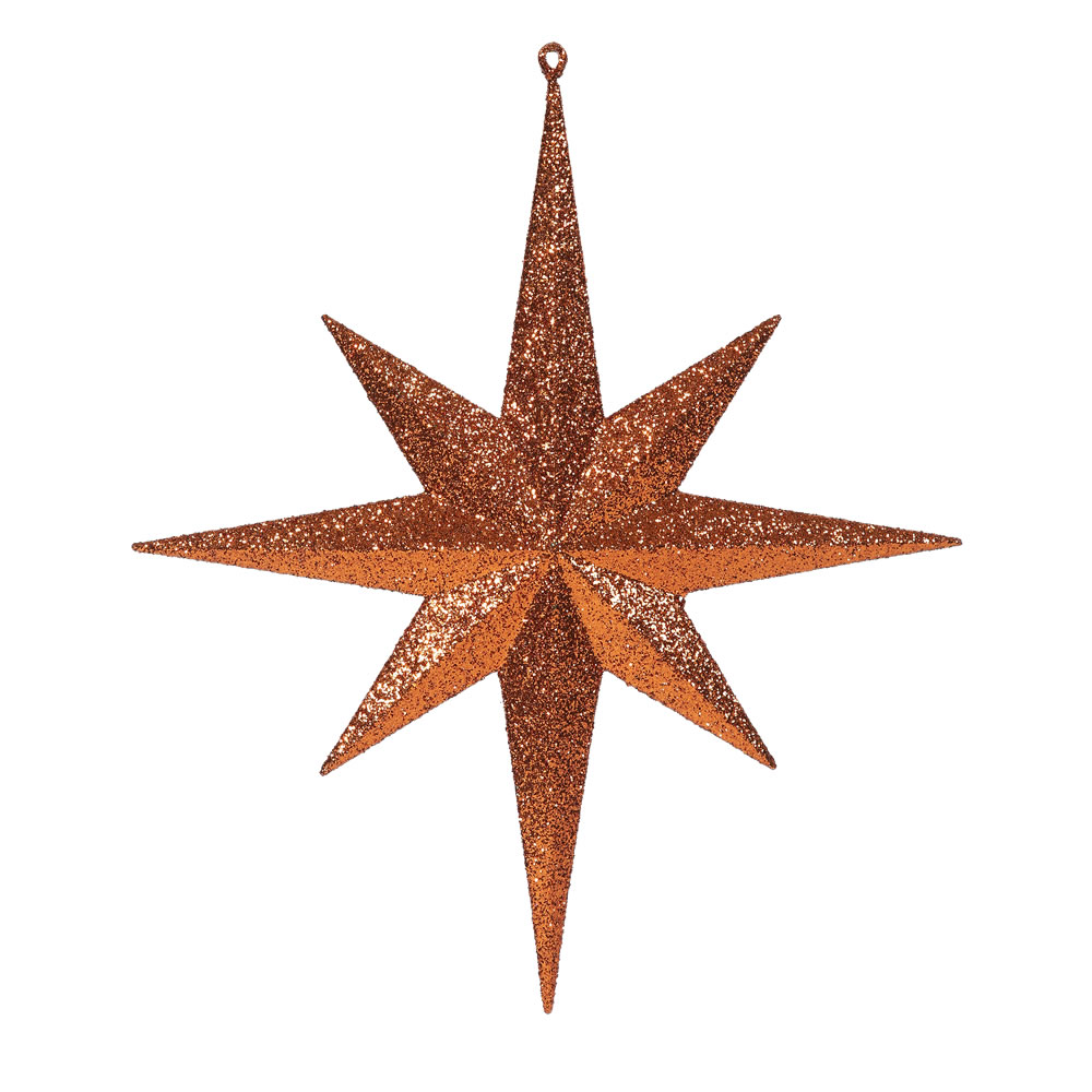 15.75 Inch Burnish Orange Iridescent Glitter Bethlehem Star Christmas Ornament