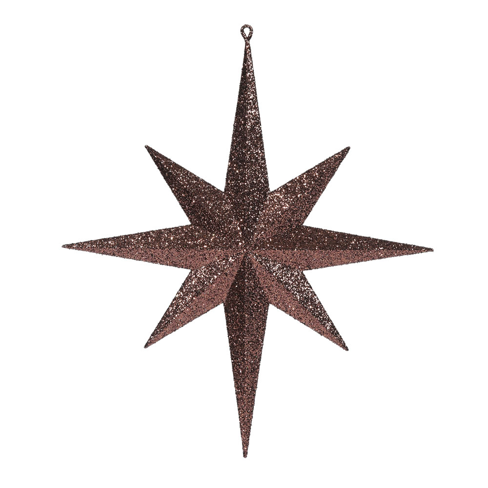 15.75 Inch Chocolate Iridescent Glitter Bethlehem Star Christmas Ornament