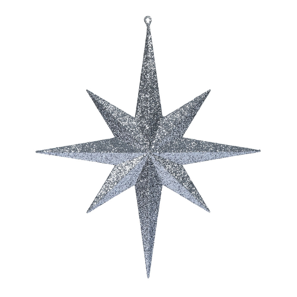15.75 Inch Pewter Iridescent Glitter Bethlehem Star Christmas Ornament