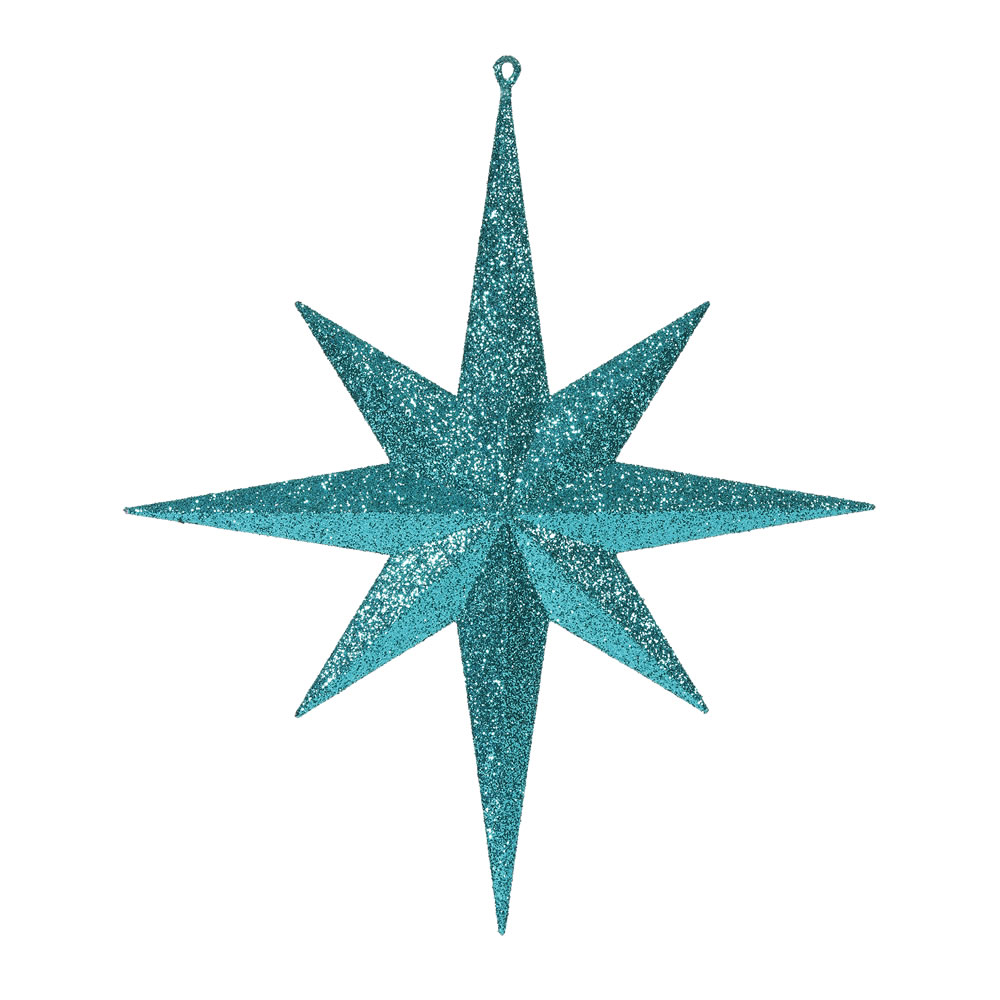 15.75 Inch Lake Blue Iridescent Glitter Bethlehem Star Christmas Ornament